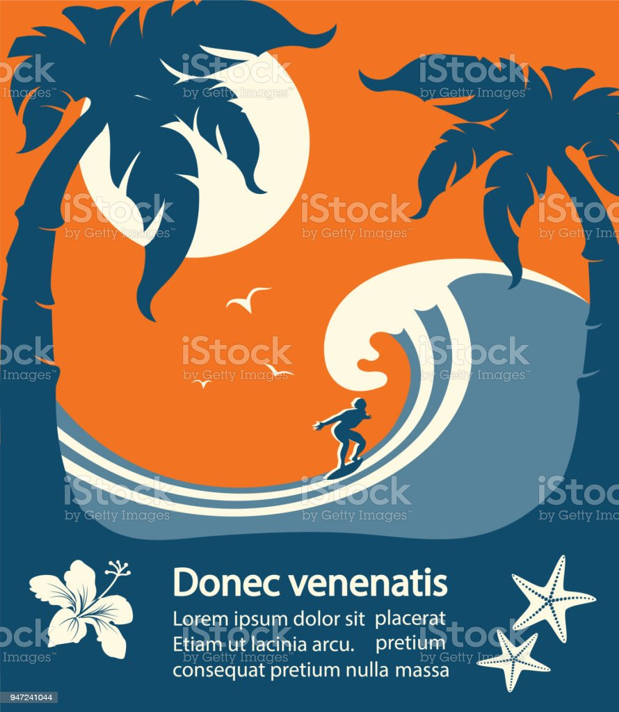 Surfer and big sea wave tropical island vector art illustration