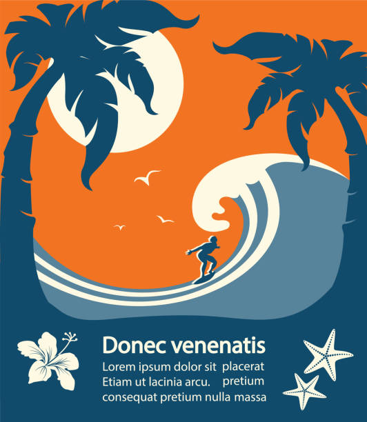 Surfer and big sea wave tropical island Surfer and big sea wave tropical island.Vector poster background for text surf stock illustrations