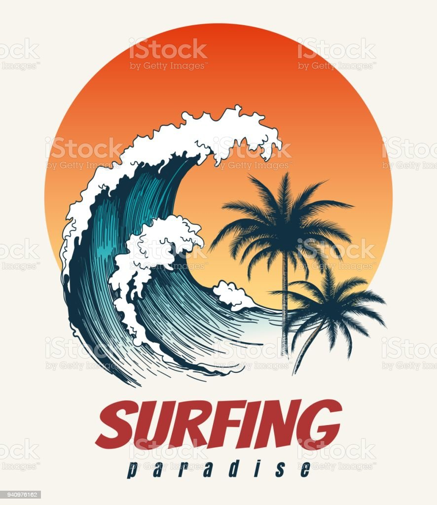 Surfer big wave retro poster vector art illustration
