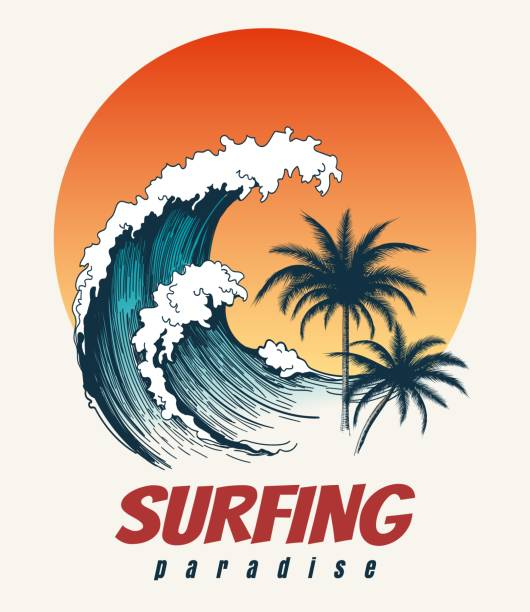 Surfer big wave retro poster Surfer big wave. Ocean wave surfing hawaii or california paradise vector retro poster surf stock illustrations