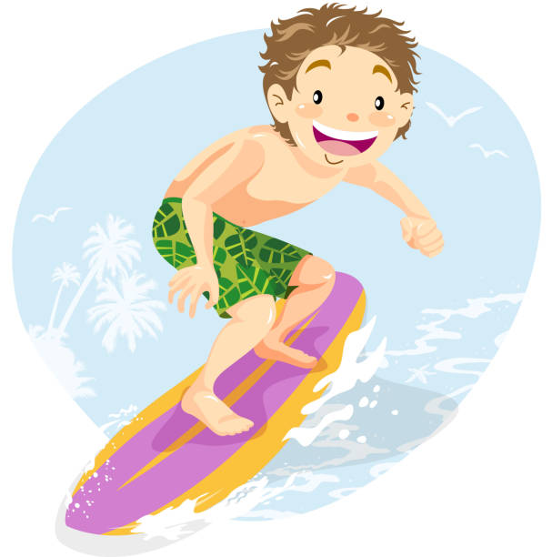 サーファー少年夏の乗馬波 - サーフィン点のイラスト素材/クリップアート素材/マンガ素材/アイコン素材