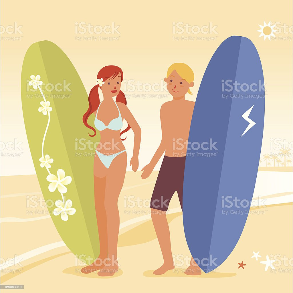 サーファーのカップル のイラスト素材 165063010 | istock