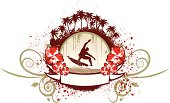 Surf emblem with hibiscus palms and ribbon to customize