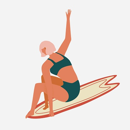 Surfer girl character in retro swimsuit with a shortboard. Summer illustration for printing on a T shirt, postcard, pillow, poster, textile and more. Vector illustration in hand drawn style.
