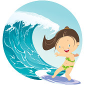 Vector Surfer girl summer riding wave