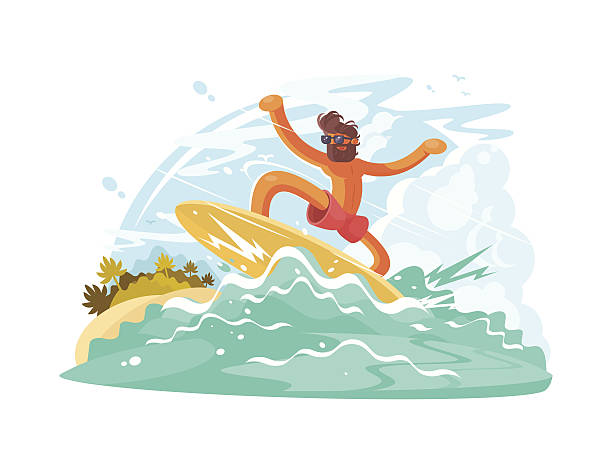 Surfer guy in sunglass vector art illustration