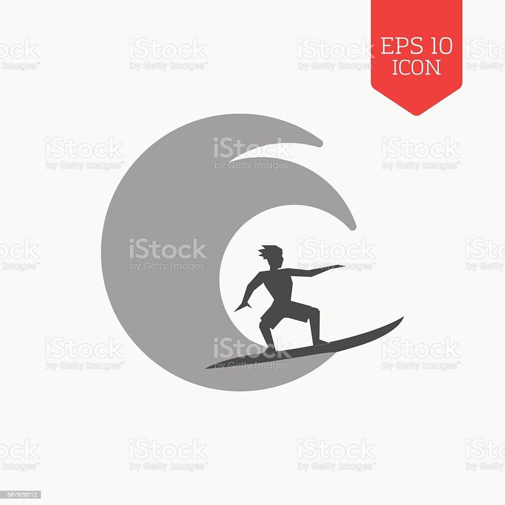 Surfer icon. Flat design gray color symbol. vector art illustration