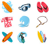 Surfer icon set, with surf board, sunglasses, flip flop, Hawaiian shirt, ocean, wave, ocean wave, necklace, boards, surfer, surfing. Vector illustration cartoon.
