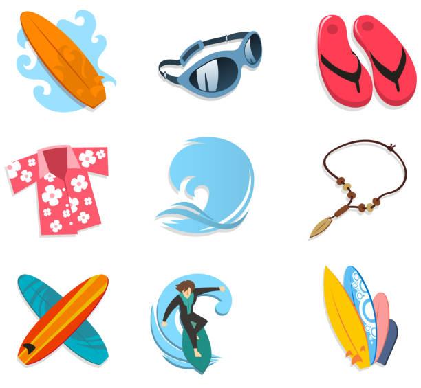 ボードサーファーのアイコンセットのサングラスフリップフロップタイヘイシャツサーフィン - 花のボーダー点のイラスト素材/クリップアート素材/マンガ素材/アイコン素材