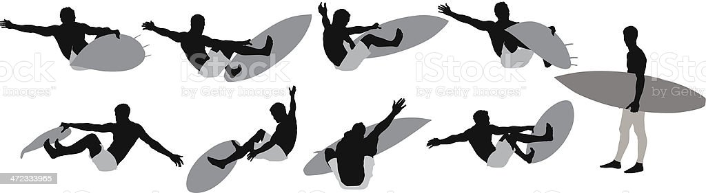 Surfer in action royalty-free stock vector art