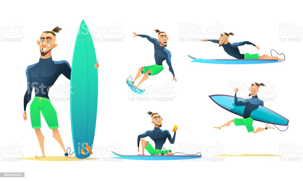 Surfer in different dynamic poses, standing, running, floating, surfing. Cartoon character design, vector illustration vector art illustration