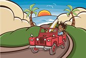 Vector cartoon illustration of a dreadlock surfer in red land rover driving from tropical beach on a windy road through green hills. Additional files include: 5 x Illustrator CS5 layered files - iMac wallpaper organizer set for two dimensions (1920x1200 pixels & 2560 x 1440 pixels); iPhone 4S vertical wallpaper 960x640 pixels; one color black coloring in file. All saved as jpegs to size and colouring in file as PDF.