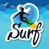 Surfer logo template.