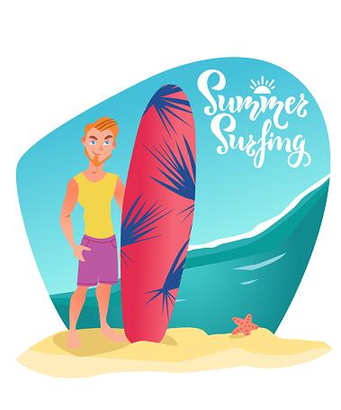 Surfeur Homme Se Tient Avec Planche De Surf Sur La Plage Illustration De Personnage De Dessin