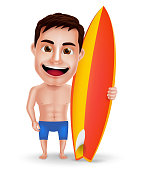 Surfer Man Vector Character with Muscles Holding Surfboard for Summer