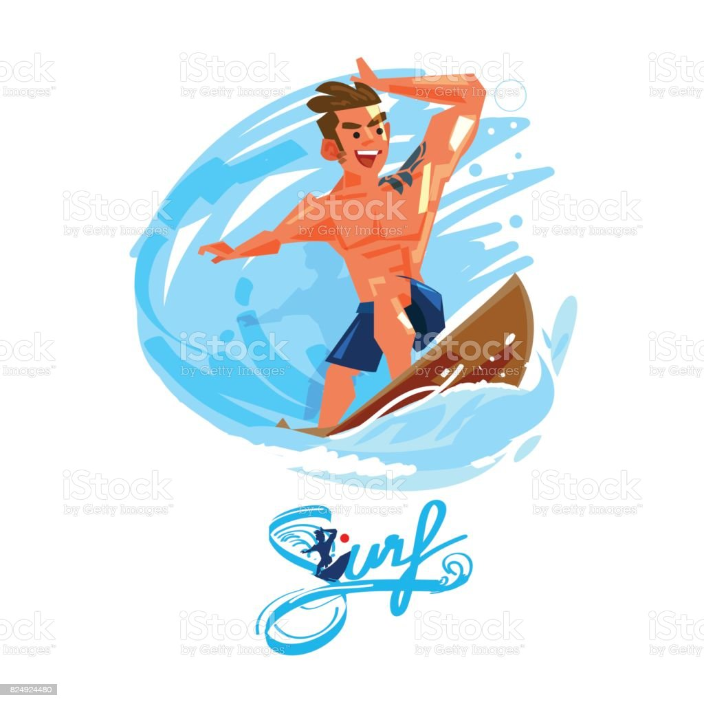 Surfer on Blue Ocean Wave. character design with typographic design - vector vector art illustration
