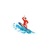 Surfer on the crest wave. Raster illustration in flat cartoon style