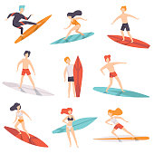 Surfer people riding surfboards set, young women amd men enjoying summer vacation on the sea or ocean vector Illustration isolated on a white background.