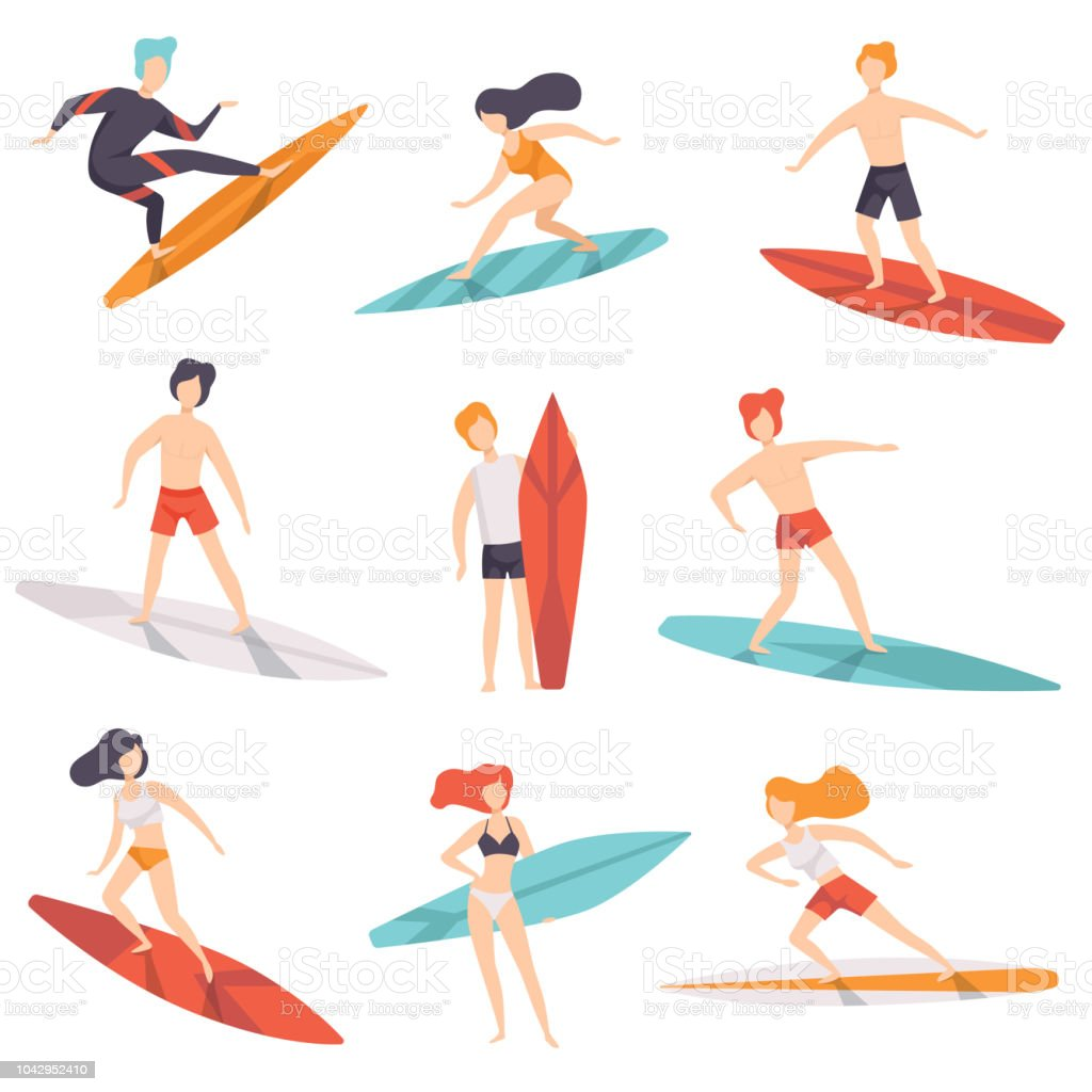 Surfer people riding surfboards set, young women amd men enjoying summer vacation on the sea or ocean vector Illustration on a white background vector art illustration