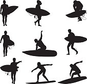 Surfer people surfing and carrying surfboards