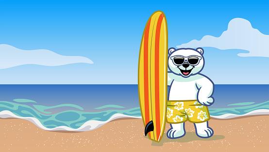surfer polar bear vacation on the beach