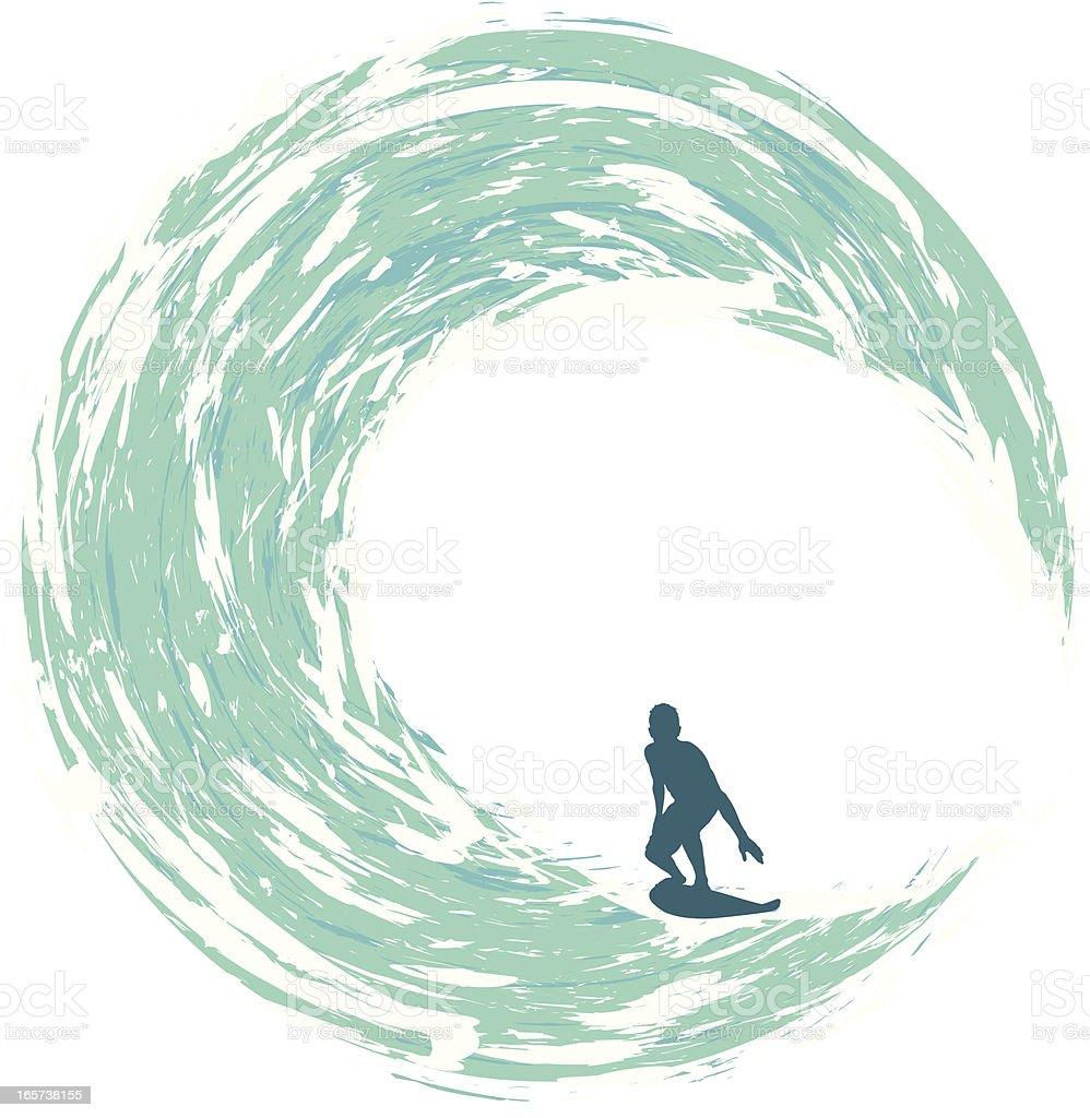 Surfer Riding on a Circular Wave vector art illustration