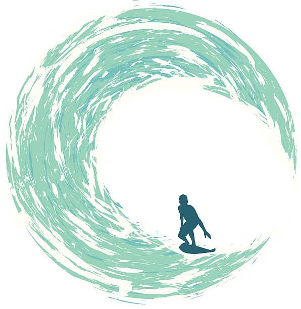 Surfer Riding on a Circular Wave vector art illustration