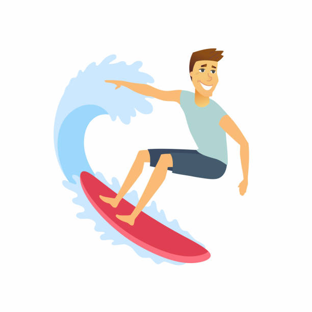 Surfer riding the wave - cartoon people character isolated illustration Surfer riding the wave - cartoon people character isolated illustration on white background. A happy cute young sportsman on a surfboard surfing stock illustrations