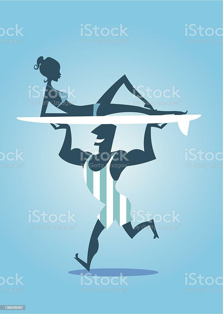 Surfista silhouette e bikini ragazza sulla tavola da surf - illustrazione arte vettoriale