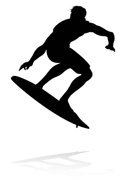 Surfer Silhouette A high quality detailed silhouette of a surfer surfing the waves on his surfboard surf stock illustrations