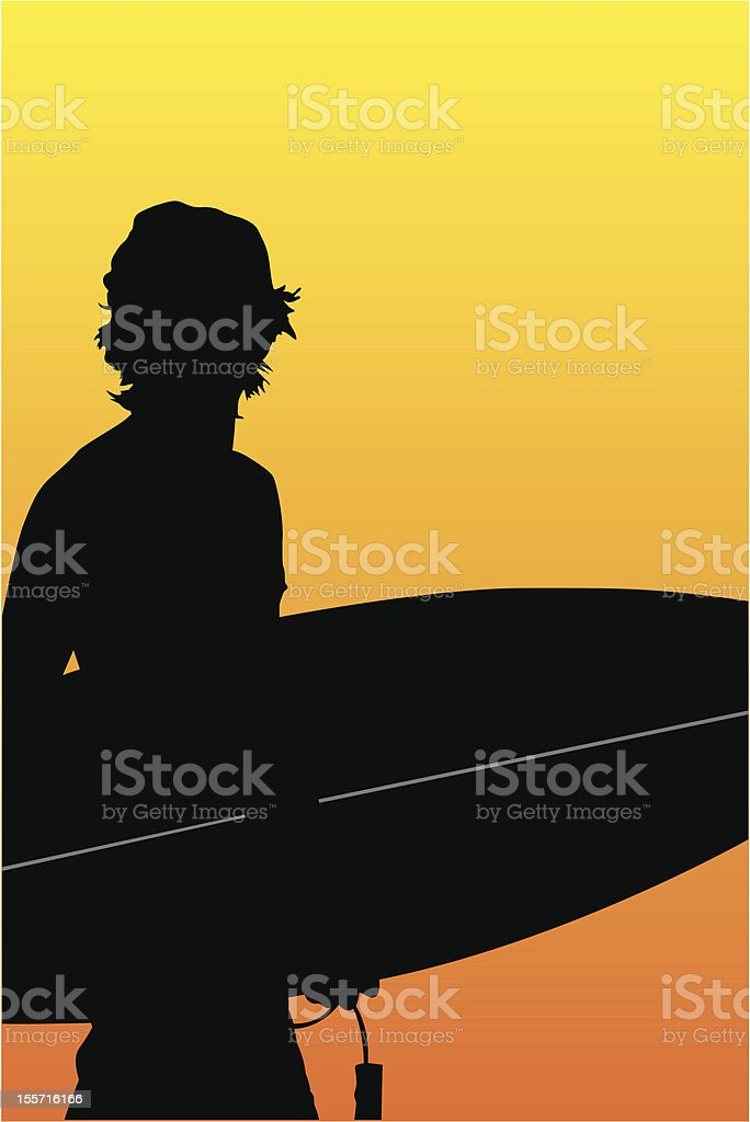 Surfer Sunset royalty-free stock vector art