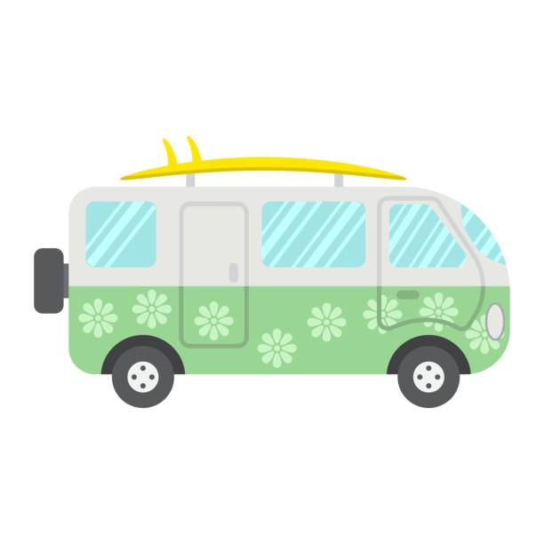 ilustrações de stock, clip art, desenhos animados e ícones de surfer van flat icon, transport and vehicle, camper bus sign vector graphics, a colorful solid pattern on a white background, eps 10. - viagens anos 70