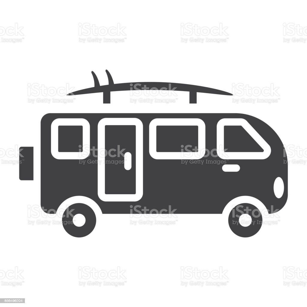 635e6e9688 Surfer Van Glyph Icon Transport And Vehicle Camper Bus Sign Vector ...