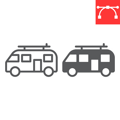 Surfer van line and glyph icon
