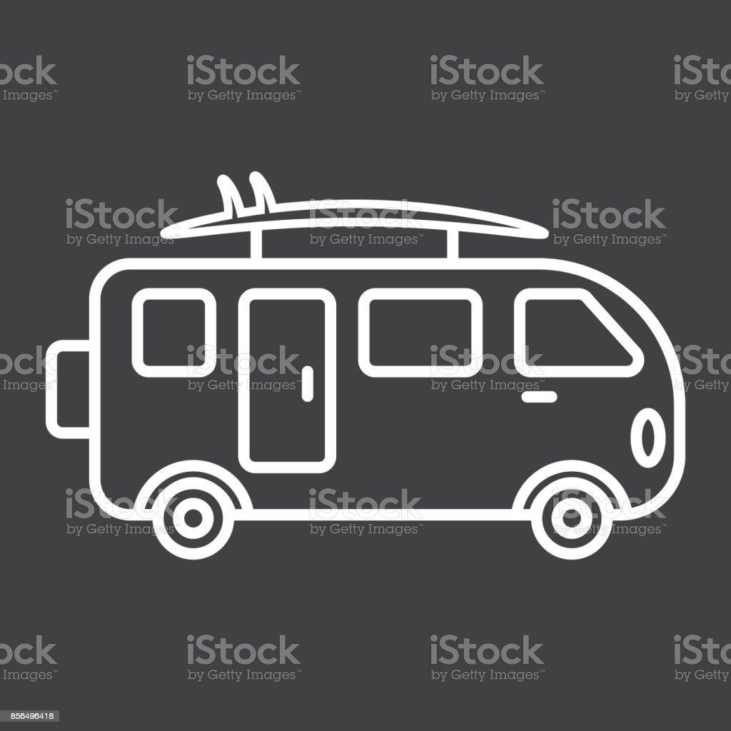 4f9d53d69b Surfer Van Line Icon Transport And Vehicle Camper Bus Sign Vector ...