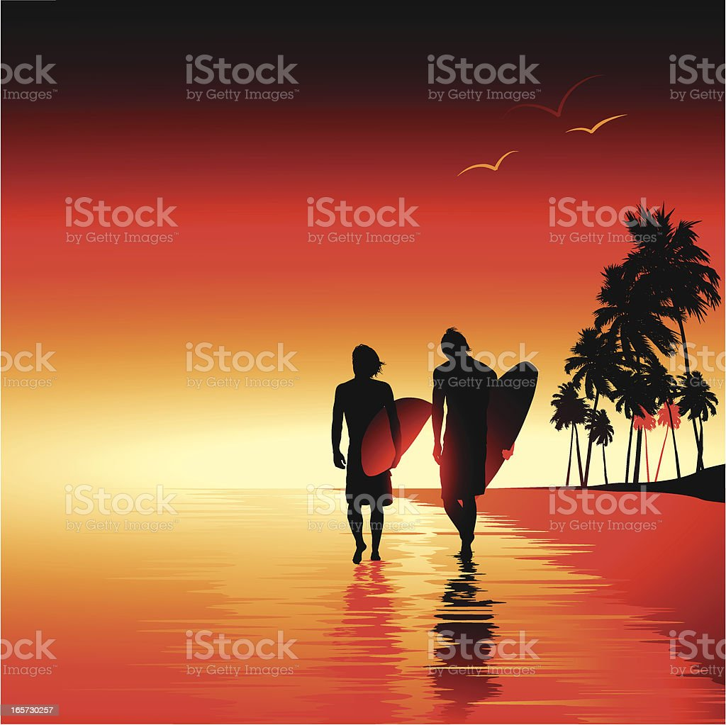 Surfers at sunset royalty-free stock vector art