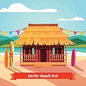 Surfers lagoon beach hut with standing surfboards. Flat style illustration isolated.