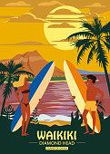 Surfers man and woman couple on the beach Waikiki, sunset, coast, palm trees
