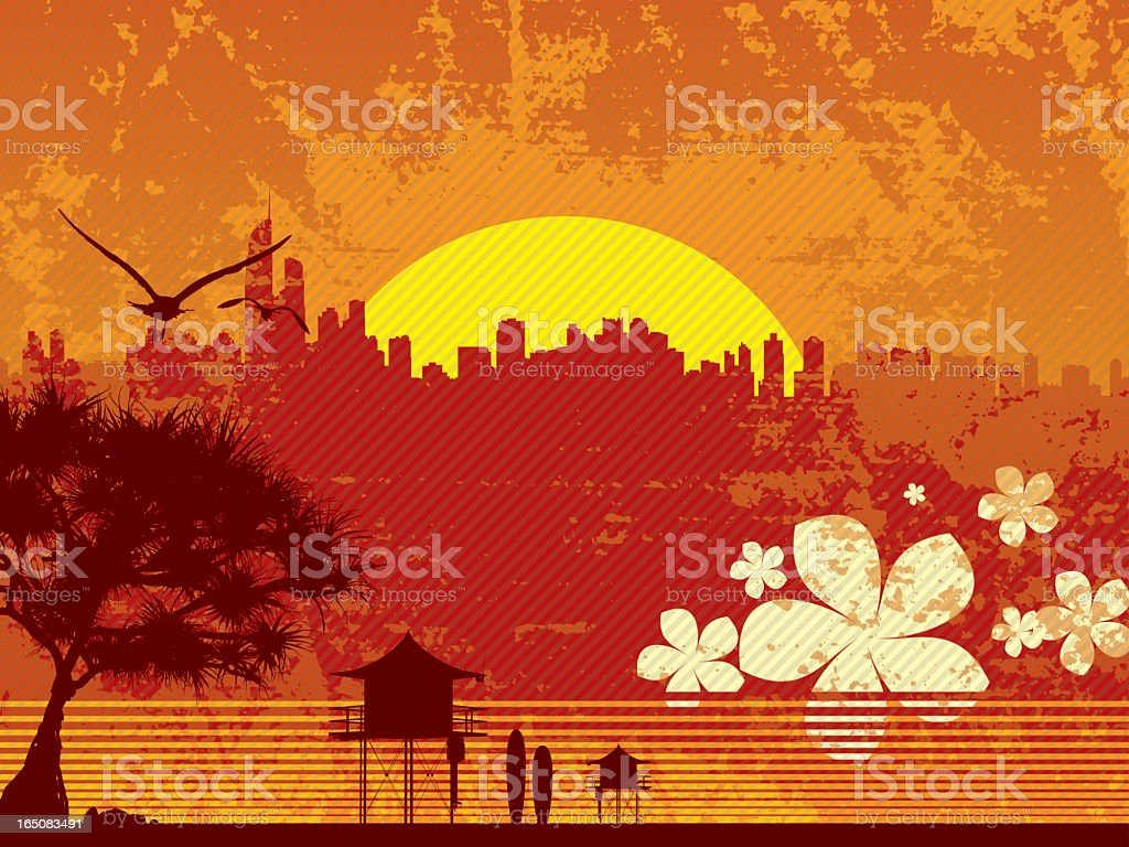 Surfers Paradise vector art illustration