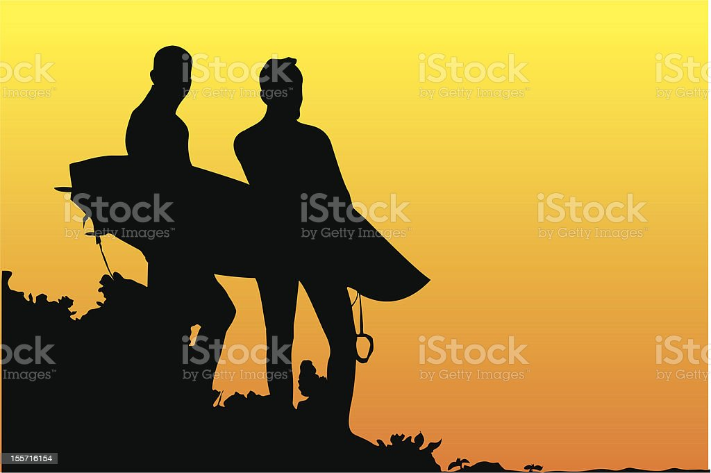 Surfers Sunset royalty-free stock vector art