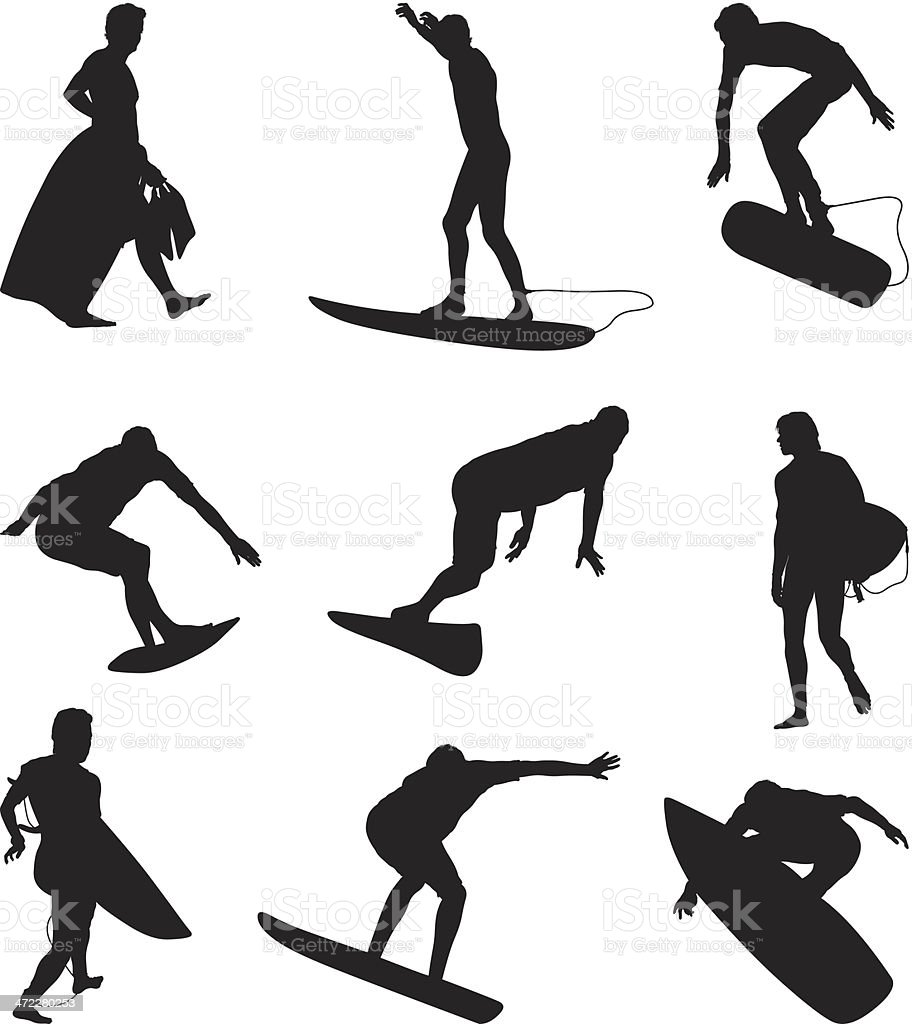 Surfers surfing and boogie boarders vector art illustration