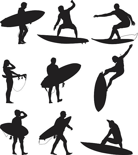 Surfers surfing and carrying their boards Surfers surfing and carrying their boardshttp://www.twodozendesign.info/i/1.png surf stock illustrations