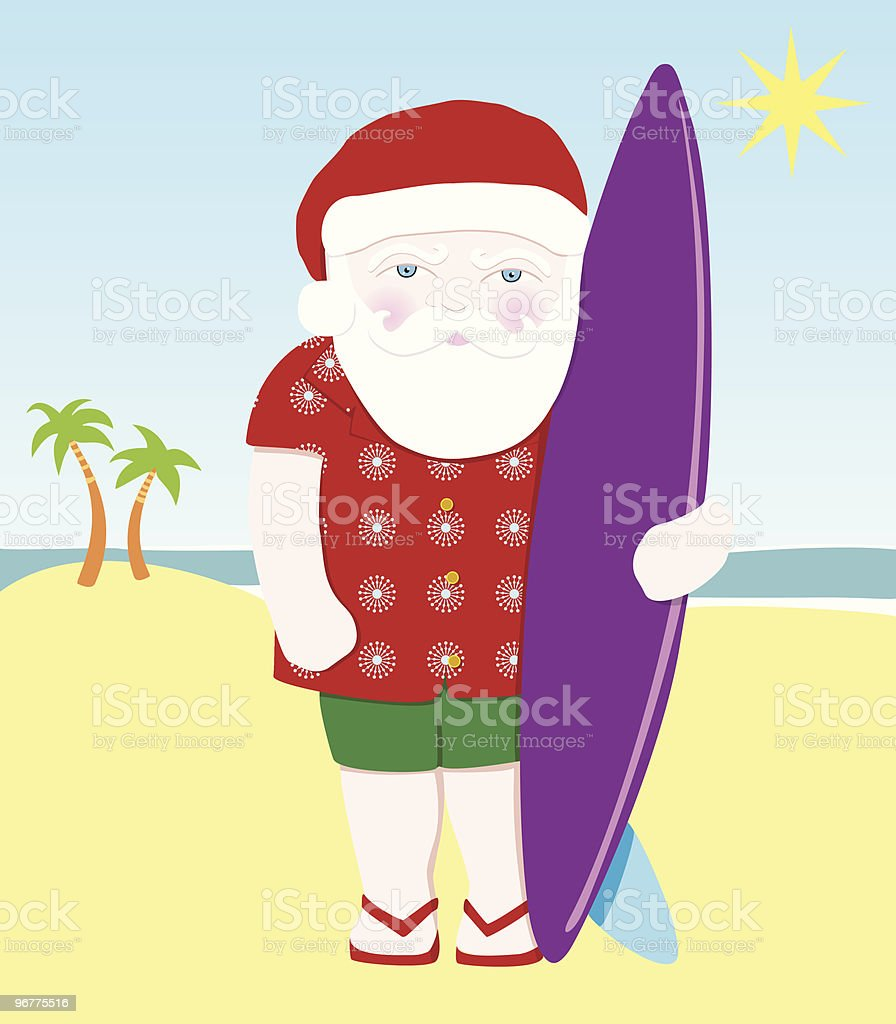 Surfin' Santa royalty-free surfin santa stock vector art & more images of adult