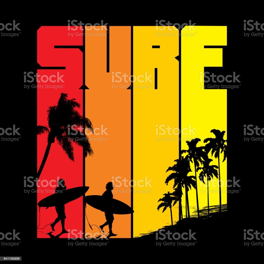 Surfin' sunset vector art illustration