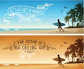 Beach backgrounds with hand drawn banners.Eps 10 file with transparencies.File is layered with global colors.Only gradients used.More works like this linked below.http://www.myimagelinks.com/Lightboxes/surfing_files/shapeimage_2.png