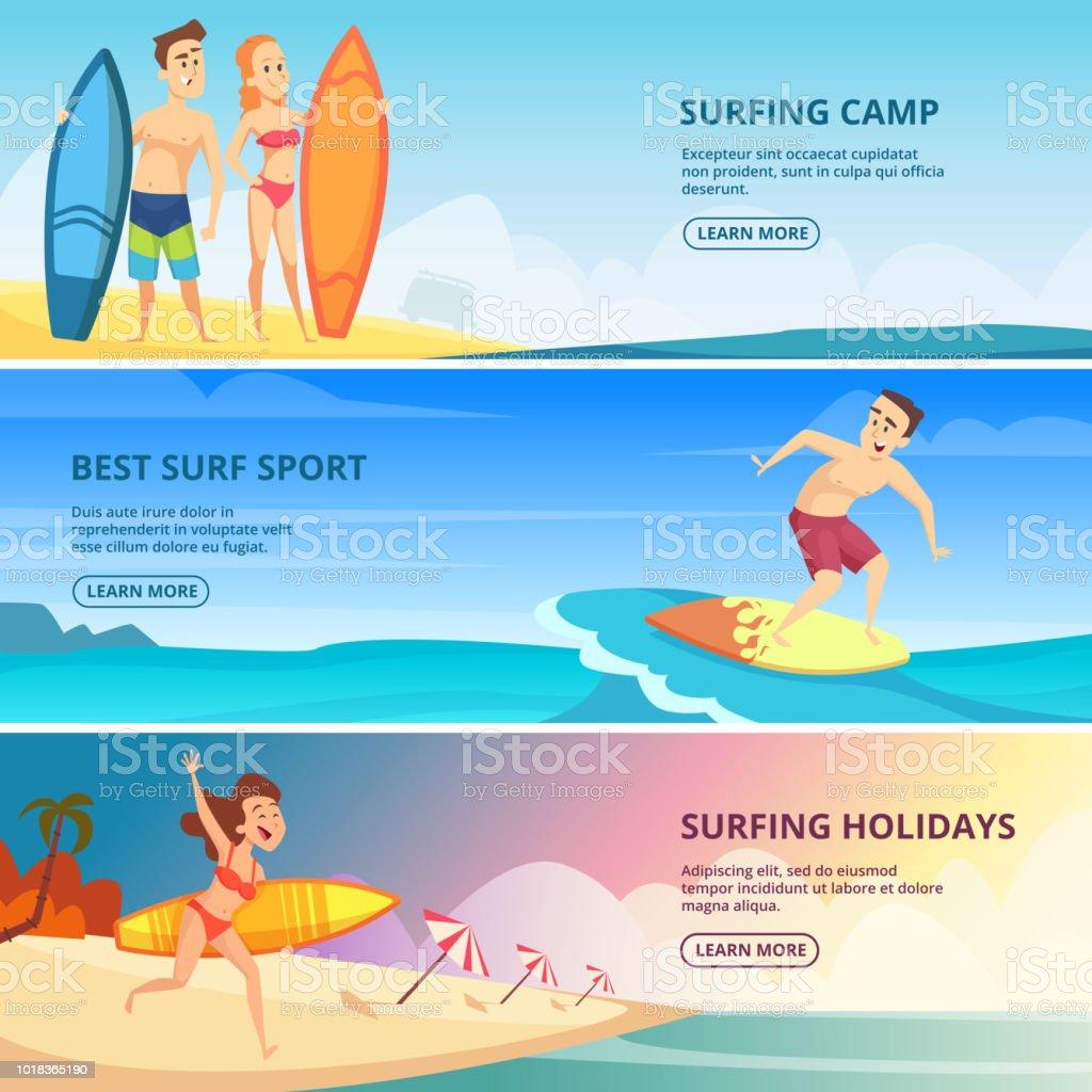 ilustração de ilustrações de banners de surf templates de desenho de