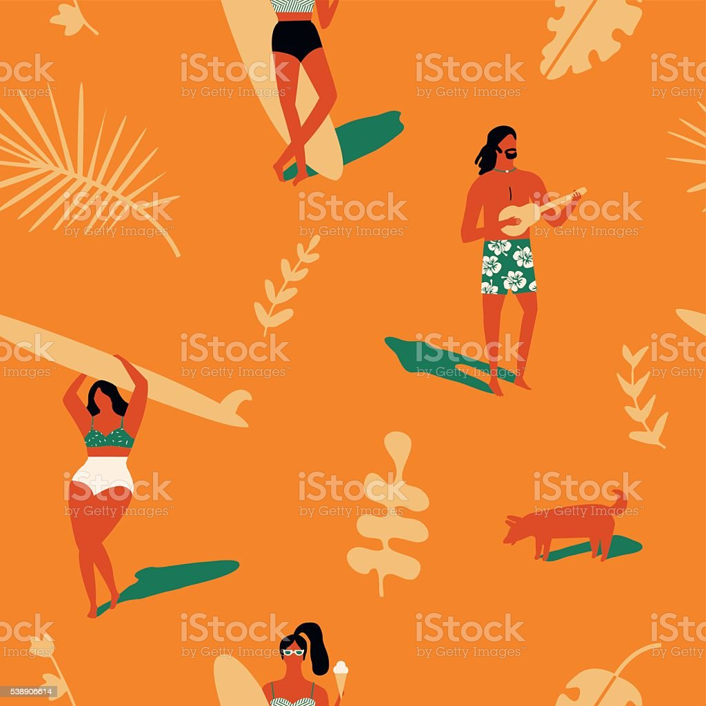Surfing beach waves retro illustration.