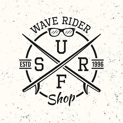Surfing black vintage round emblem, badge, label or logo vector illustration on white textured background