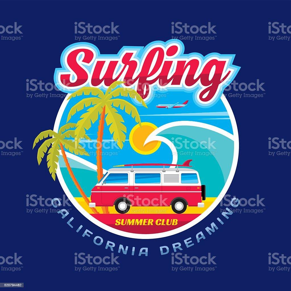 Surfing - California dreams - vector illustration concept vector art illustration