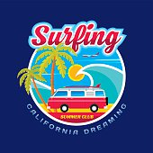 Surfing - California dreams - vector illustration concept